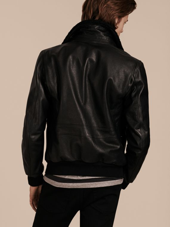 Black Leather Jacket with Detachable Shearling Collar - cell image 2