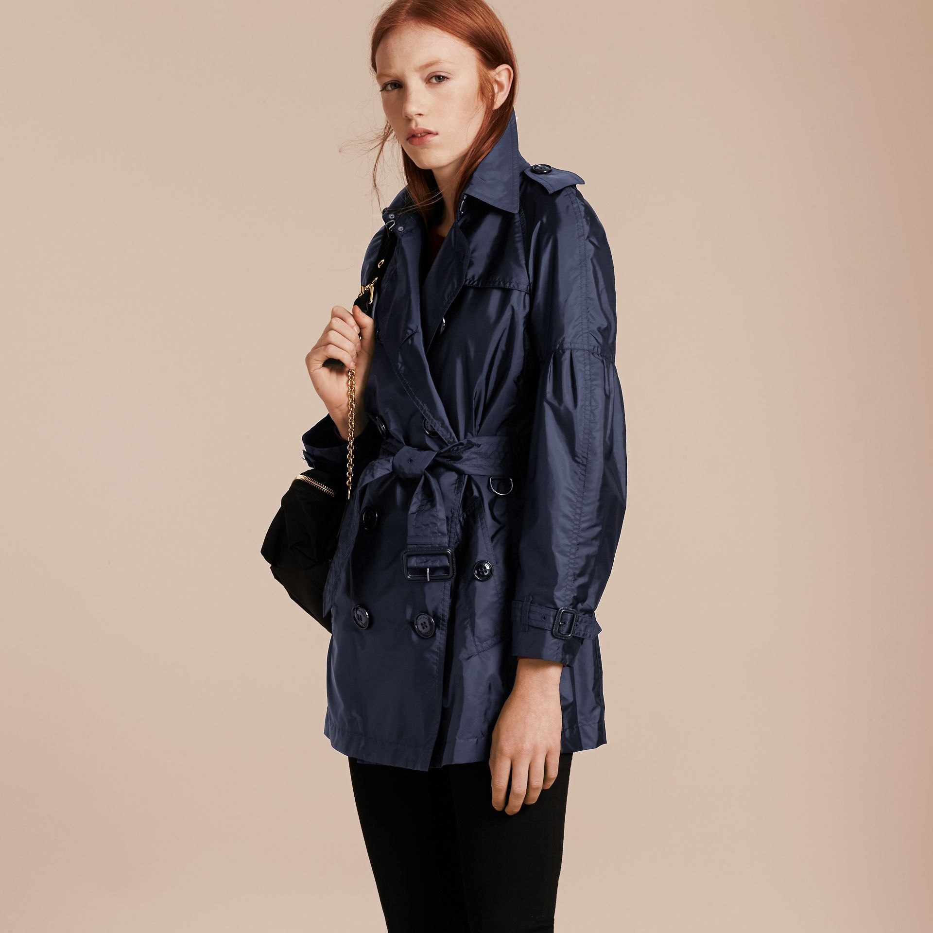 Packaway Trench Coat with Bell Sleeves in Navy - gallery image 7