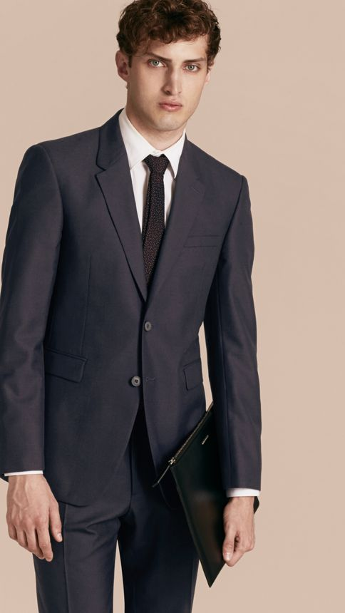 Navy Modern Fit Wool Part-canvas Jacket - Image 7