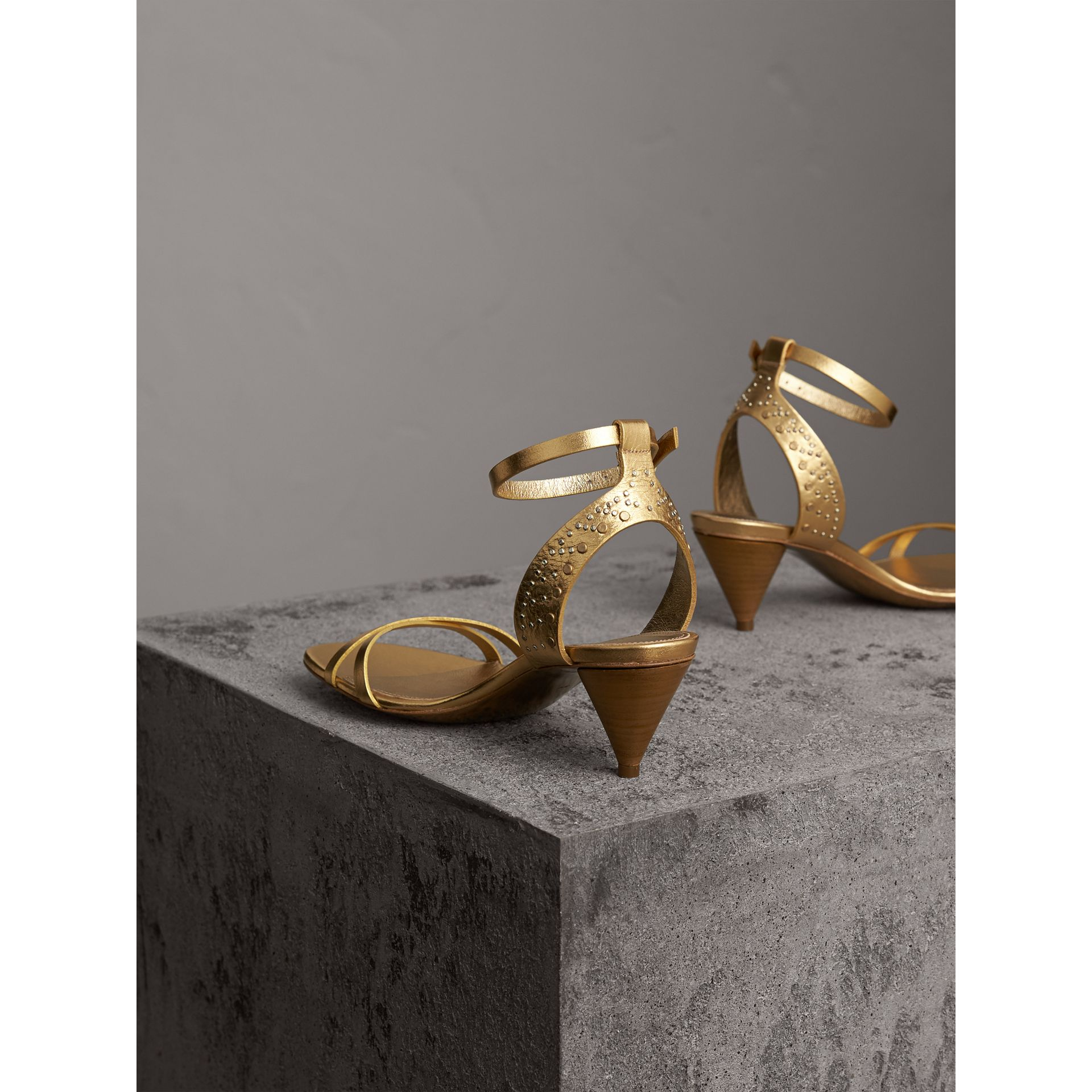 Riveted Metallic Leather Cone-heel Sandals in Gold - Women | Burberry Australia - gallery image 3