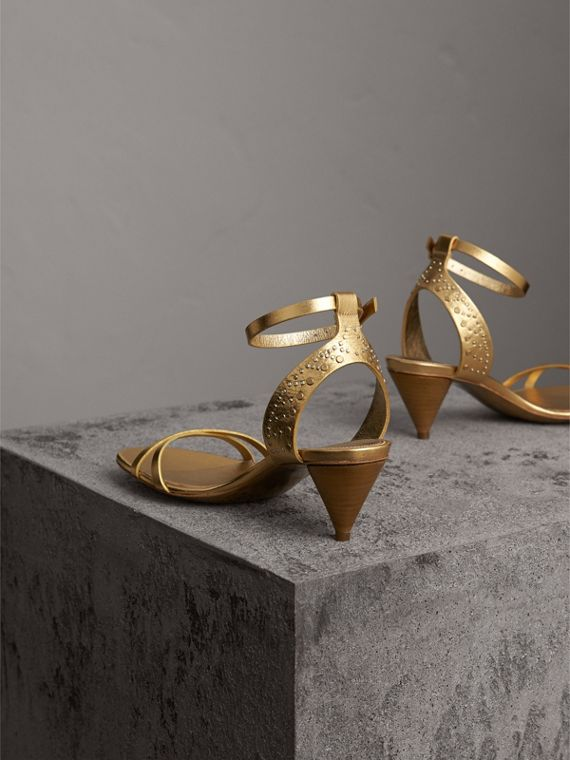 Riveted Metallic Leather Cone-heel Sandals in Gold - Women | Burberry Australia - cell image 3