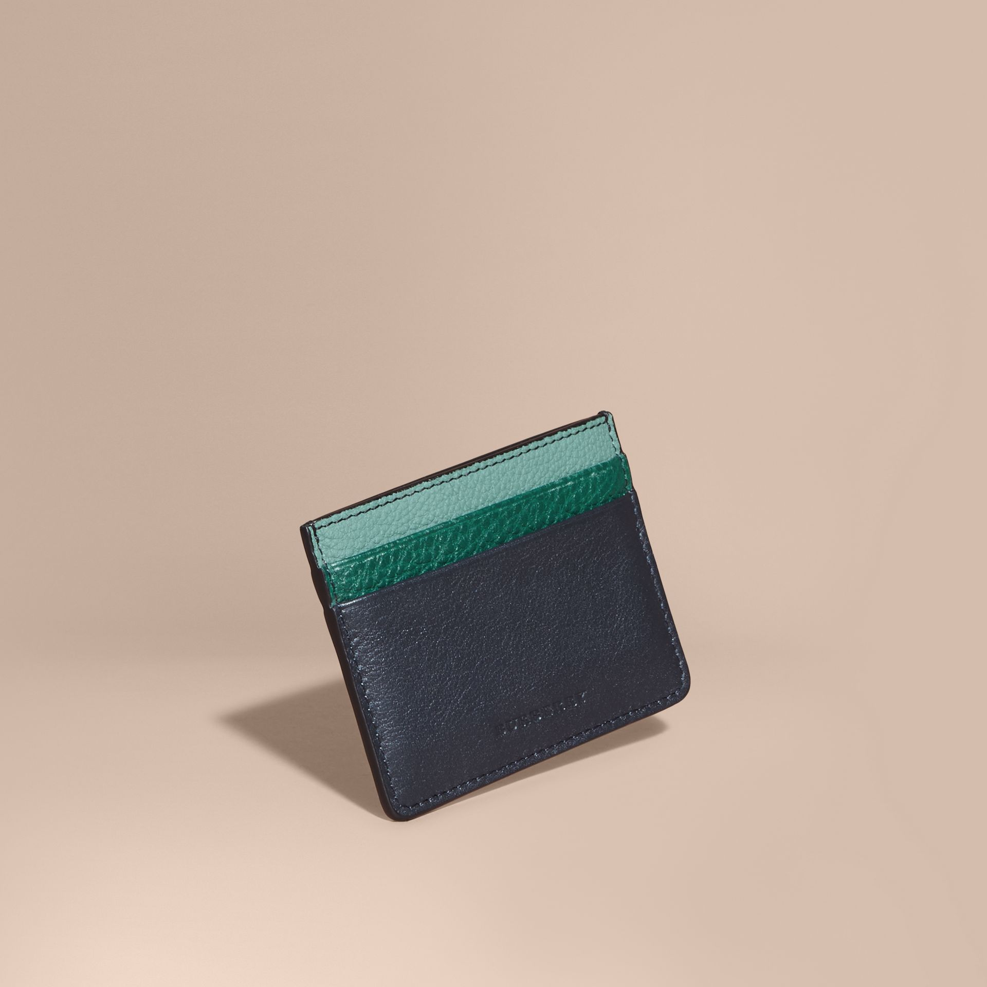 Colour Block Leather Card Case in Blue Carbon - gallery image 1