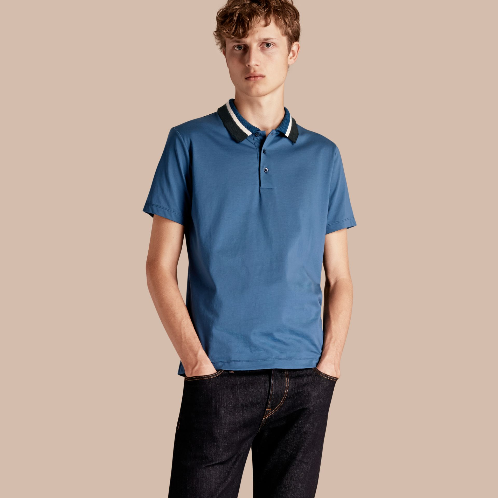 Mineral blue Cotton Polo Shirt with Knitted Collar Mineral Blue - gallery image 1