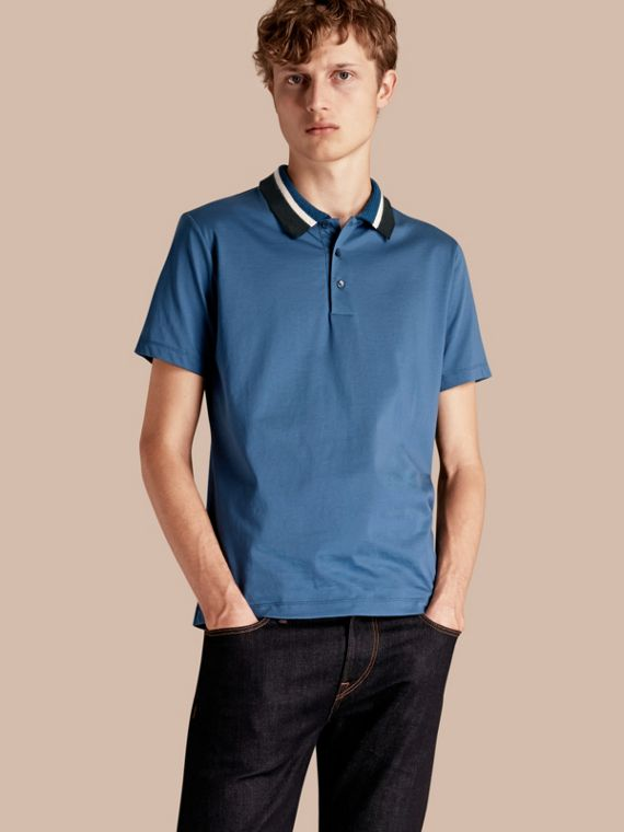Cotton Polo Shirt with Knitted Collar Mineral Blue