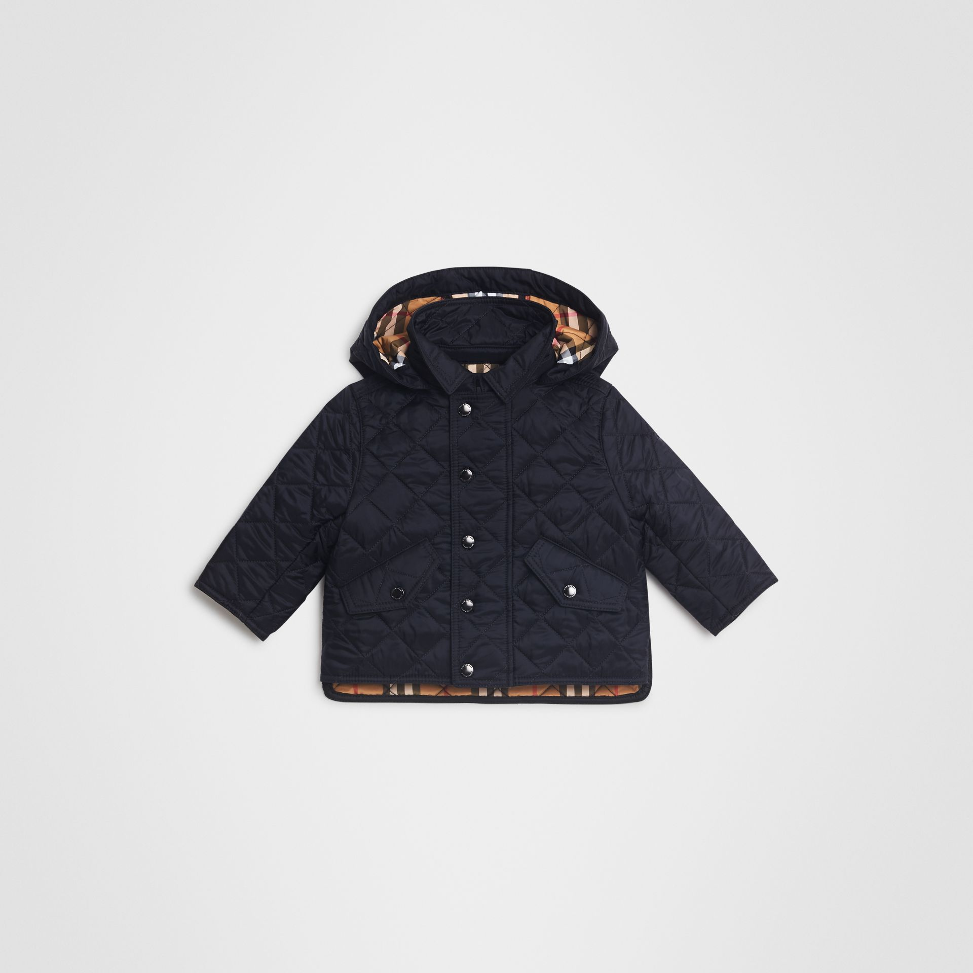 Diamond Quilted Hooded Jacket in Navy - Children | Burberry - gallery image 0
