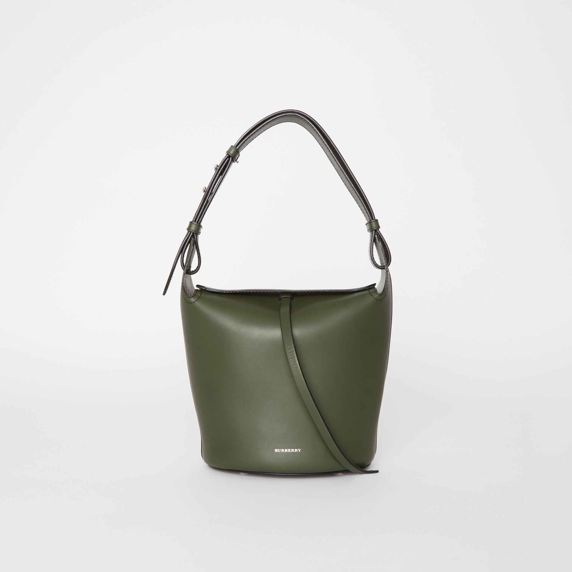 The Small Leather Bucket Bag in Dark Olive - Women | Burberry - gallery image 0