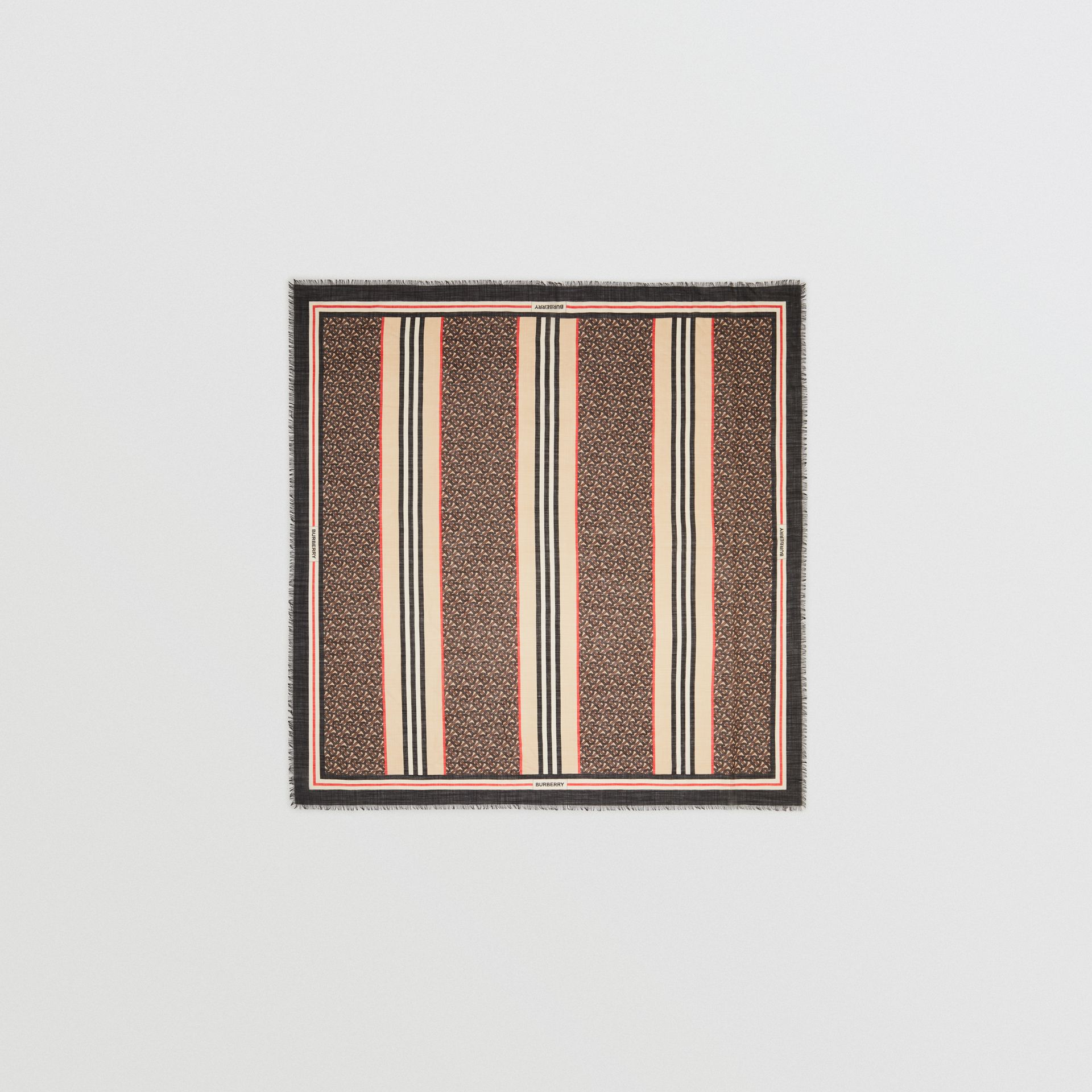 Icon Stripe Monogram Print Wool Silk Square Large Scarf in Dark Mocha | Burberry Australia - gallery image 0
