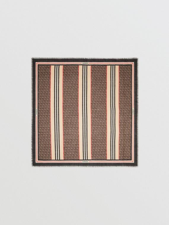 Foulard grande in lana e seta con stampa monogramma e iconico motivo a righe (Mocaccino Scuro)