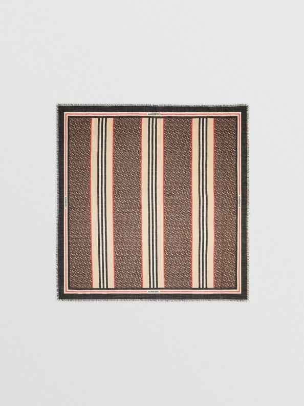 Icon Stripe Monogram Print Wool Silk Square Large Scarf in Dark Mocha