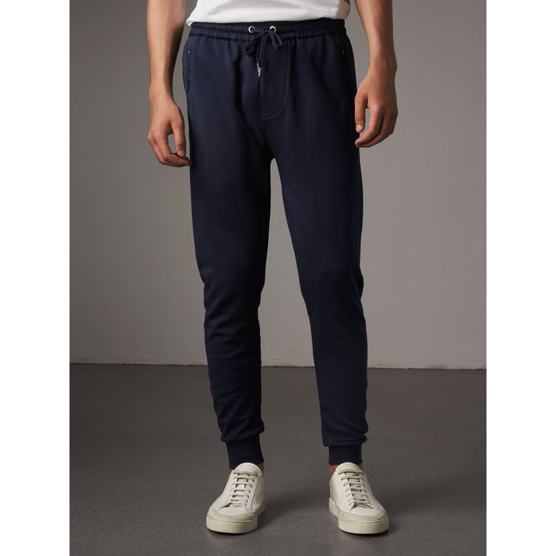 Cotton Sweatpants in Navy - Men | Burberry - gallery image 0