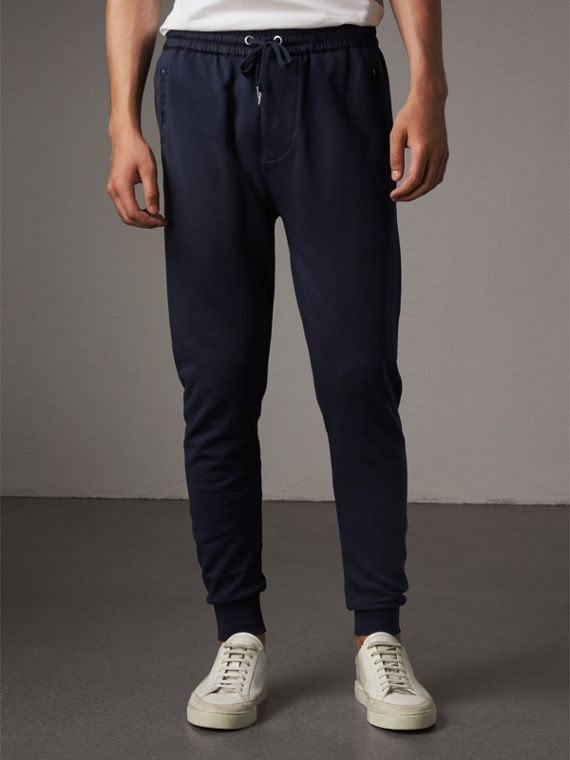Cotton Sweatpants in Navy - Men | Burberry Canada