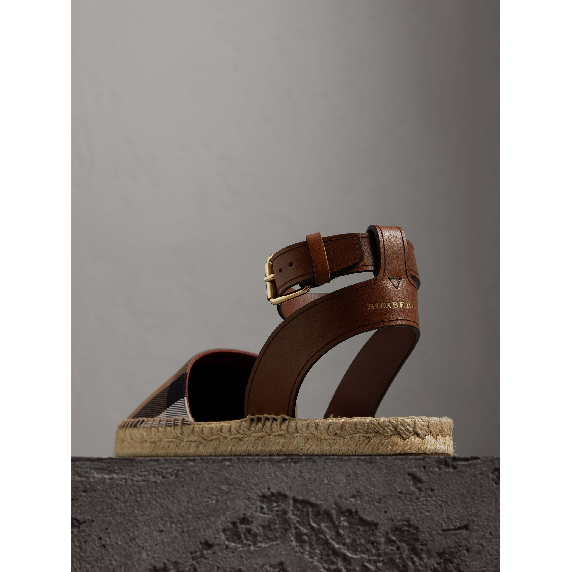 Leather and House Check Espadrille Sandals in Dark Tan - Women | Burberry Singapore - gallery image 3