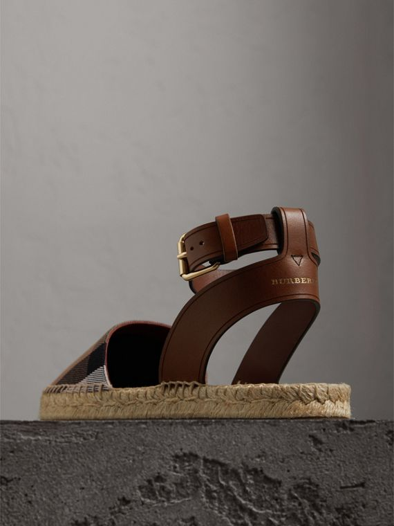 Leather and House Check Espadrille Sandals in Dark Tan - Women | Burberry Australia - cell image 3