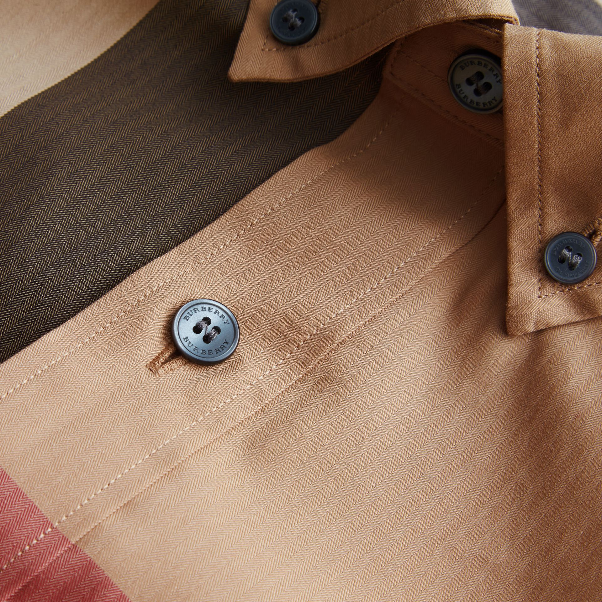 Button-down Collar Check Stretch Cotton Blend Shirt Camel - gallery image 2