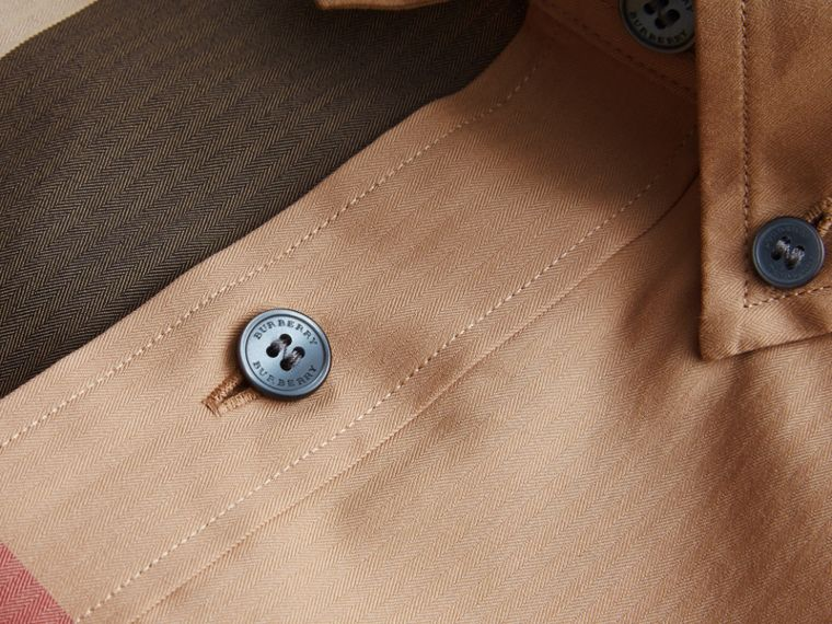 Button-down Collar Check Stretch Cotton Blend Shirt Camel - cell image 1