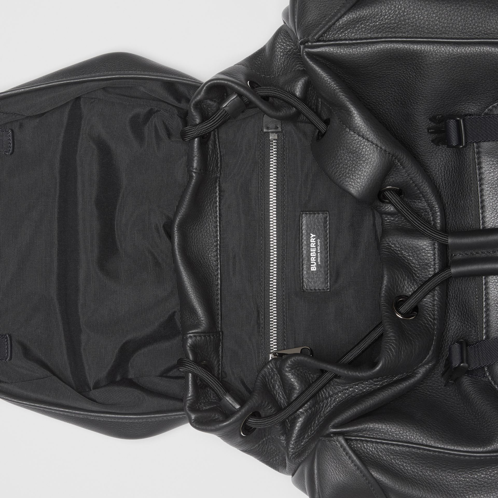 Grainy Leather Backpack in Black - Men | Burberry - gallery image 3