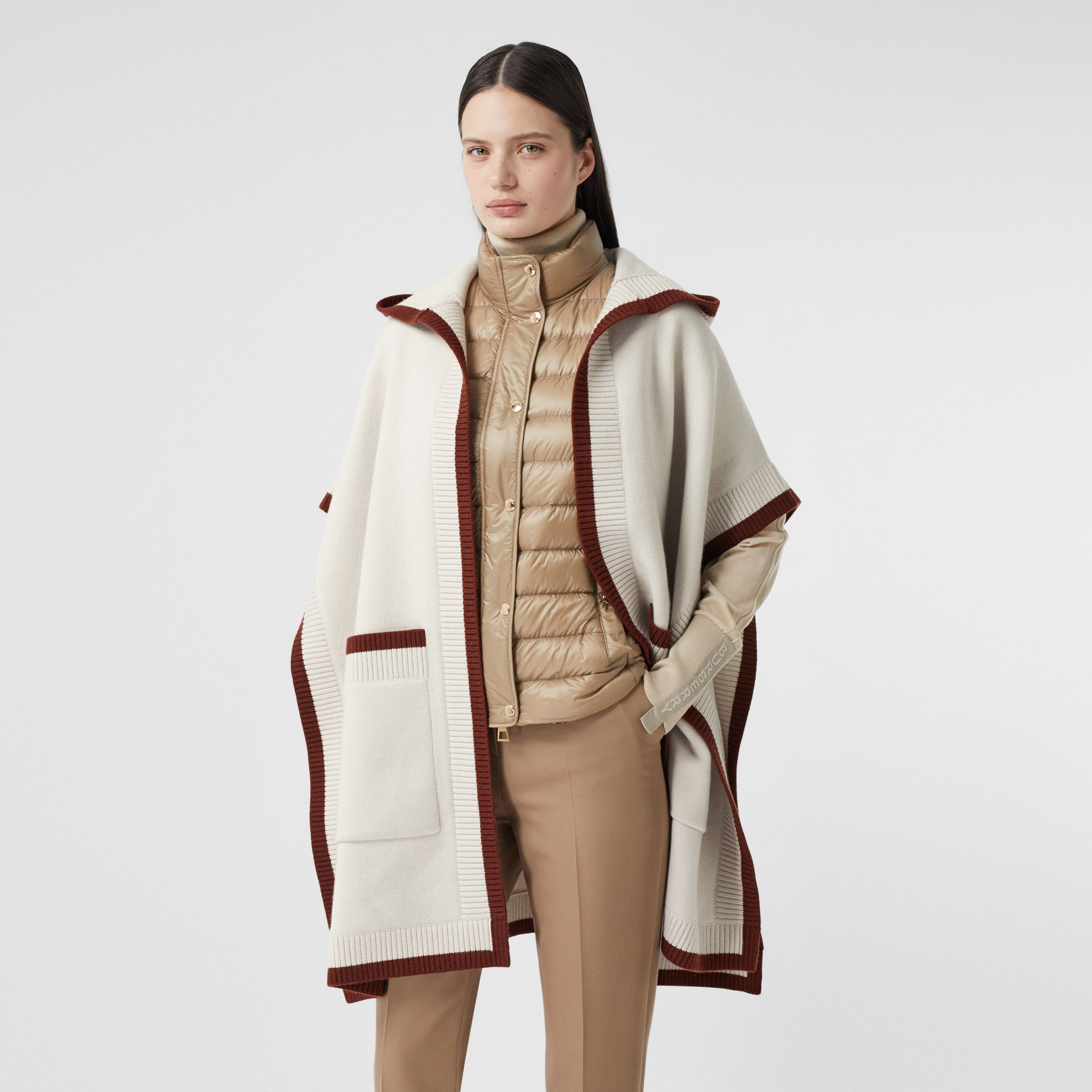 Logo Graphic Wool Cashmere Jacquard Hooded Cape in Canvas - Women | Burberry United Kingdom - 3