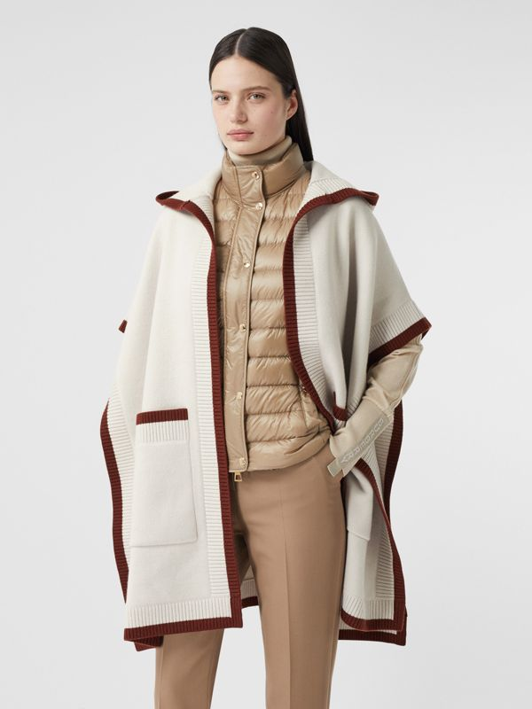 Logo Graphic Wool Cashmere Jacquard Hooded Cape in Canvas - Women | Burberry - cell image 2