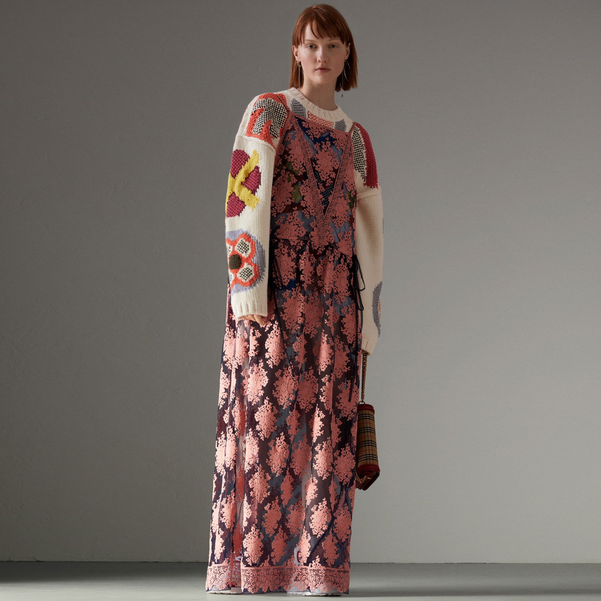 Floral-embroidered Sleeveless Dress in Rose/midnight Blue - Women | Burberry United Kingdom - gallery image 0