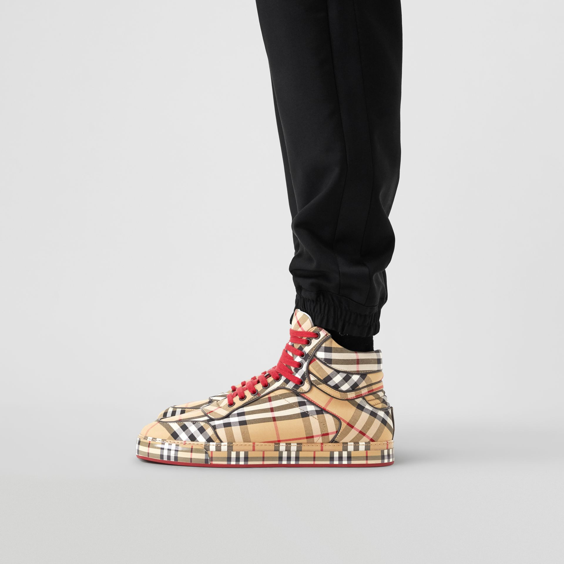 Vintage Check Cotton High-top Sneakers in Antique Yellow - Men | Burberry Australia - gallery image 2