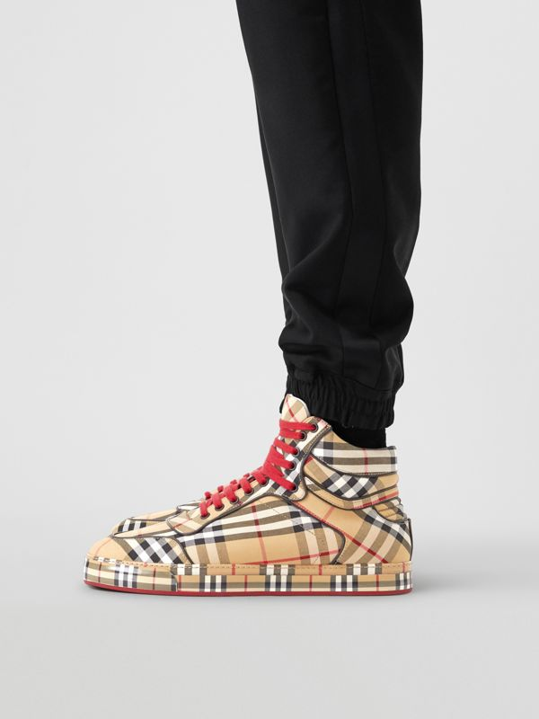 Vintage Check Cotton High-top Sneakers in Antique Yellow - Men | Burberry Australia - cell image 2