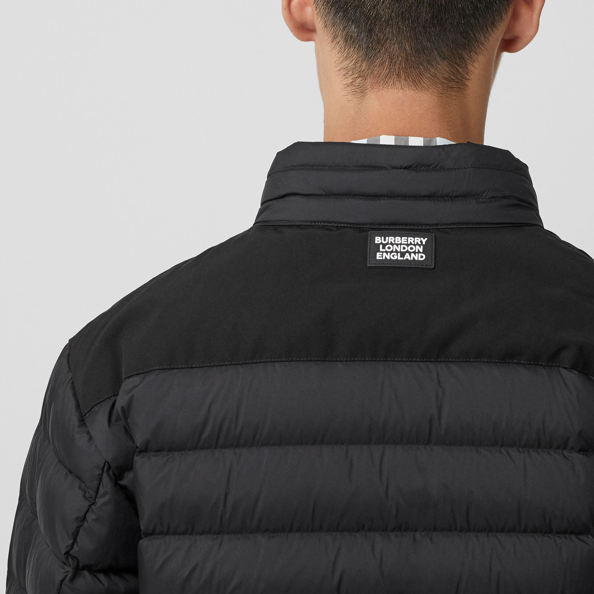 Logo Graphic Lightweight Puffer Jacket in Black - Men | Burberry - gallery image 1