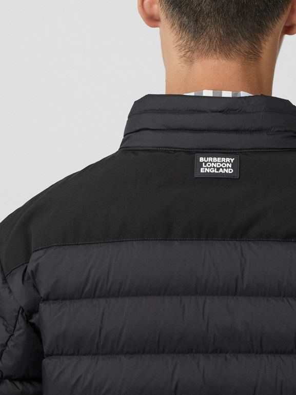 Logo Graphic Lightweight Puffer Jacket in Black - Men | Burberry - cell image 1