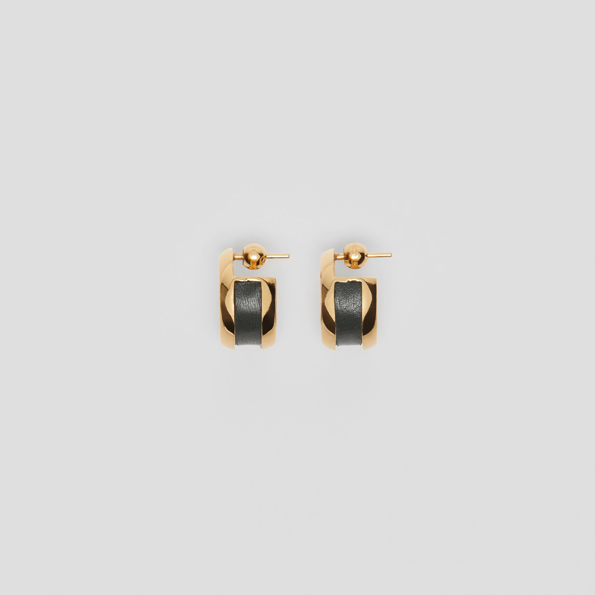 Leather Detail Grommet Earrings in Light Gold/dark Green - Women | Burberry United Kingdom - gallery image 3