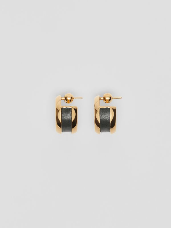 Leather Detail Grommet Earrings in Light Gold/dark Green - Women | Burberry United Kingdom - cell image 3