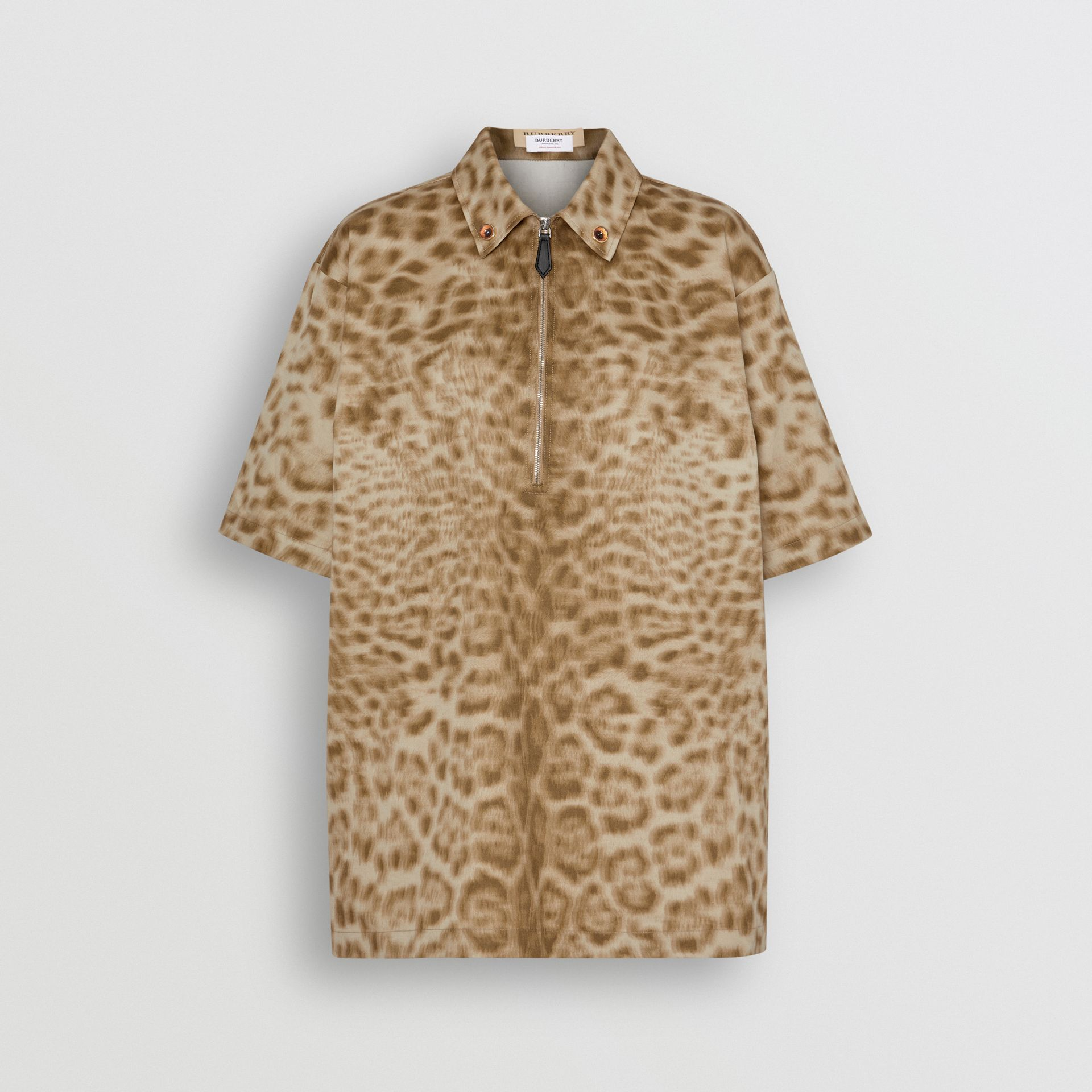 Short-sleeve Animal Print Cotton Shirt in Beige - Women | Burberry - gallery image 3