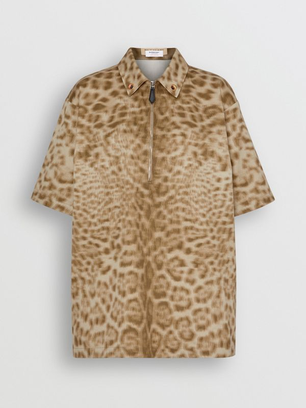 Short-sleeve Animal Print Cotton Oversized Shirt in Beige - Women | Burberry - cell image 3