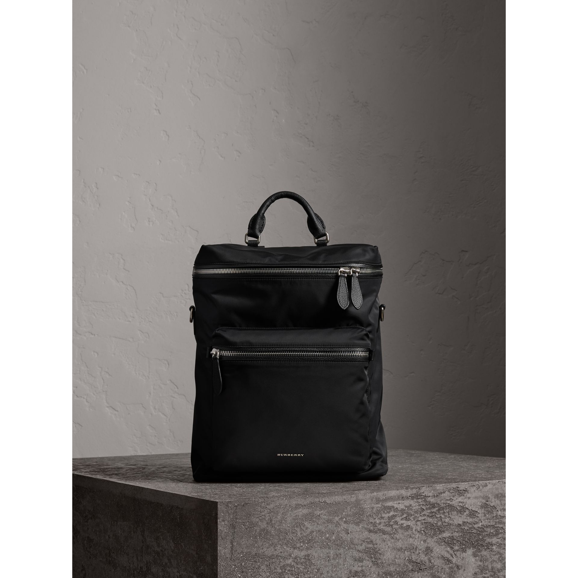 Zip-top Leather Trim Showerproof Backpack in Black - Men | Burberry Singapore - gallery image 1