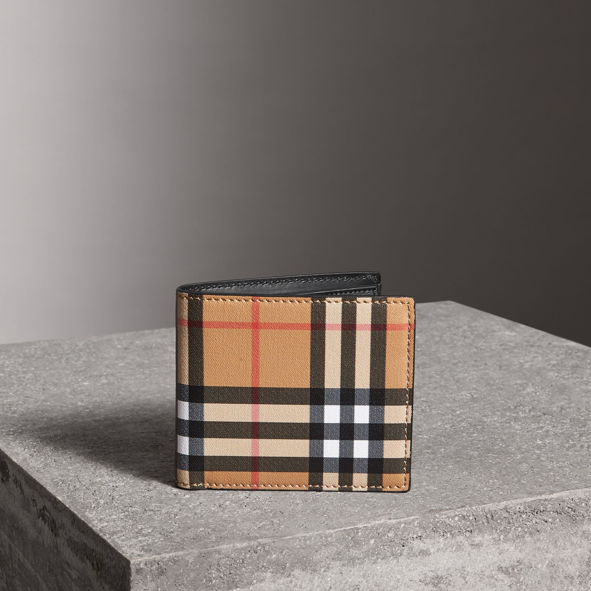 Vintage Check And Leather International Bifold Coin Wallet in Black - Men | Burberry - gallery image 0