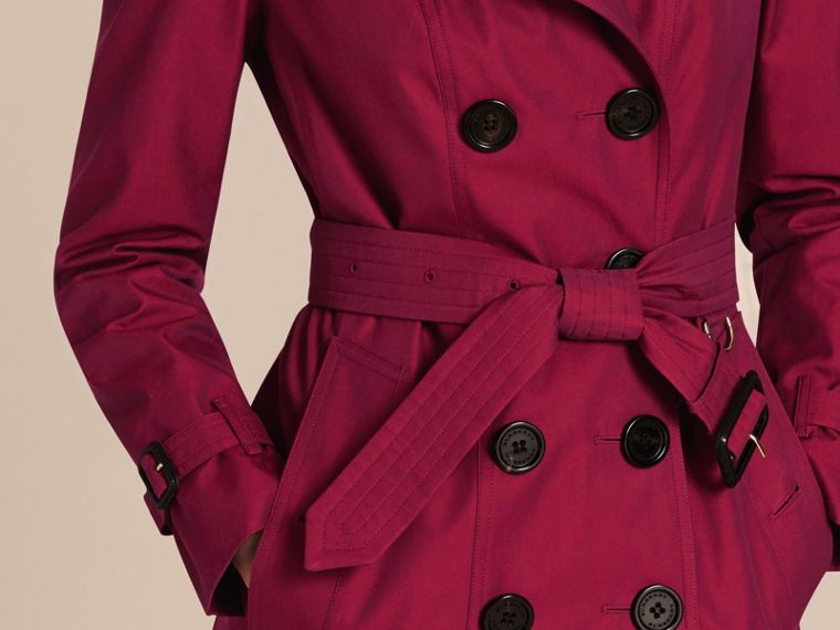Crimson Cotton Gabardine Trench Coat with Detachable Fur Trim Crimson - cell image 4