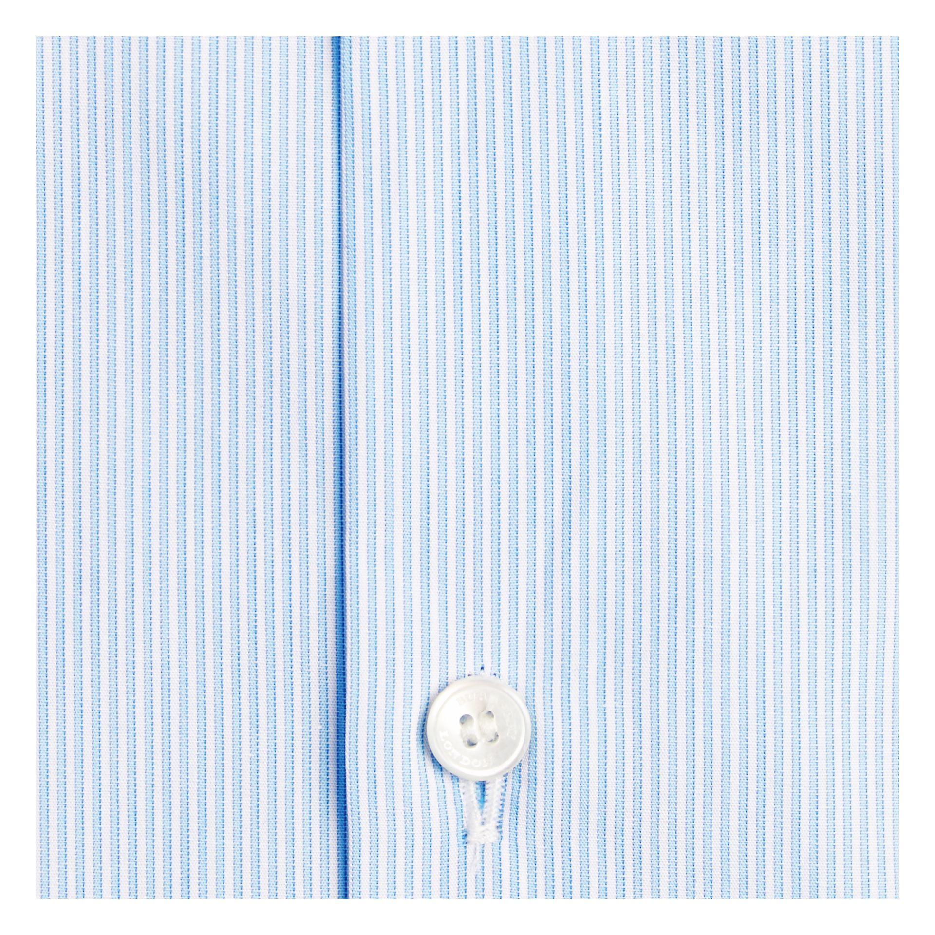 Modern Fit Striped Cotton Poplin Shirt in City Blue - gallery image 2