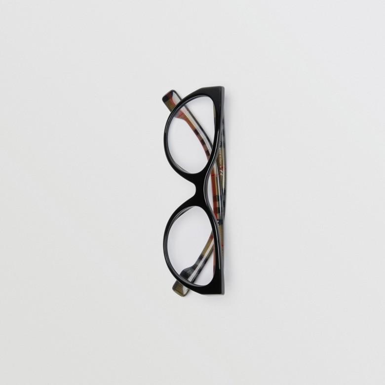 Burberry - Monture œil de chat pour lunettes de vue avec motif Vintage check - 5