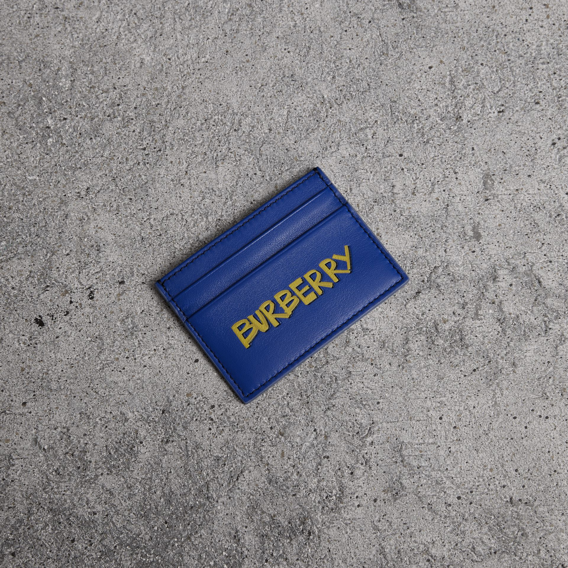 Graffiti Print Leather Card Case in Denim Blue | Burberry - gallery image 0