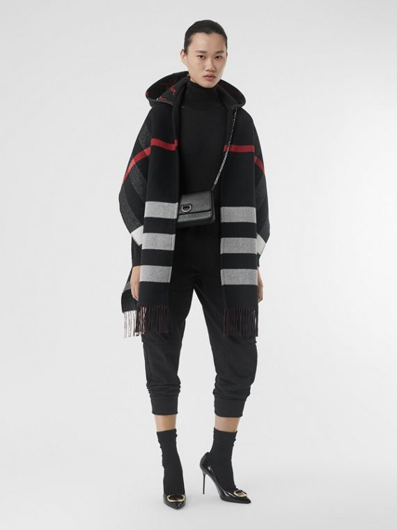 Check Wool Cashmere Hooded Scarf in Black