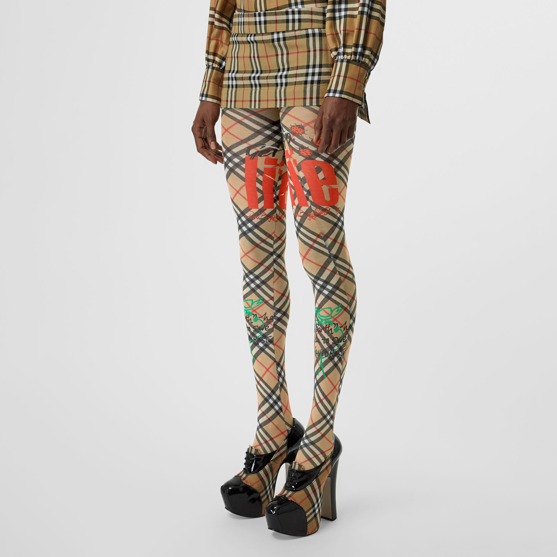 Vintage Check Wool Twill Mini Skirt in Antique Yellow - Women | Burberry - gallery image 4