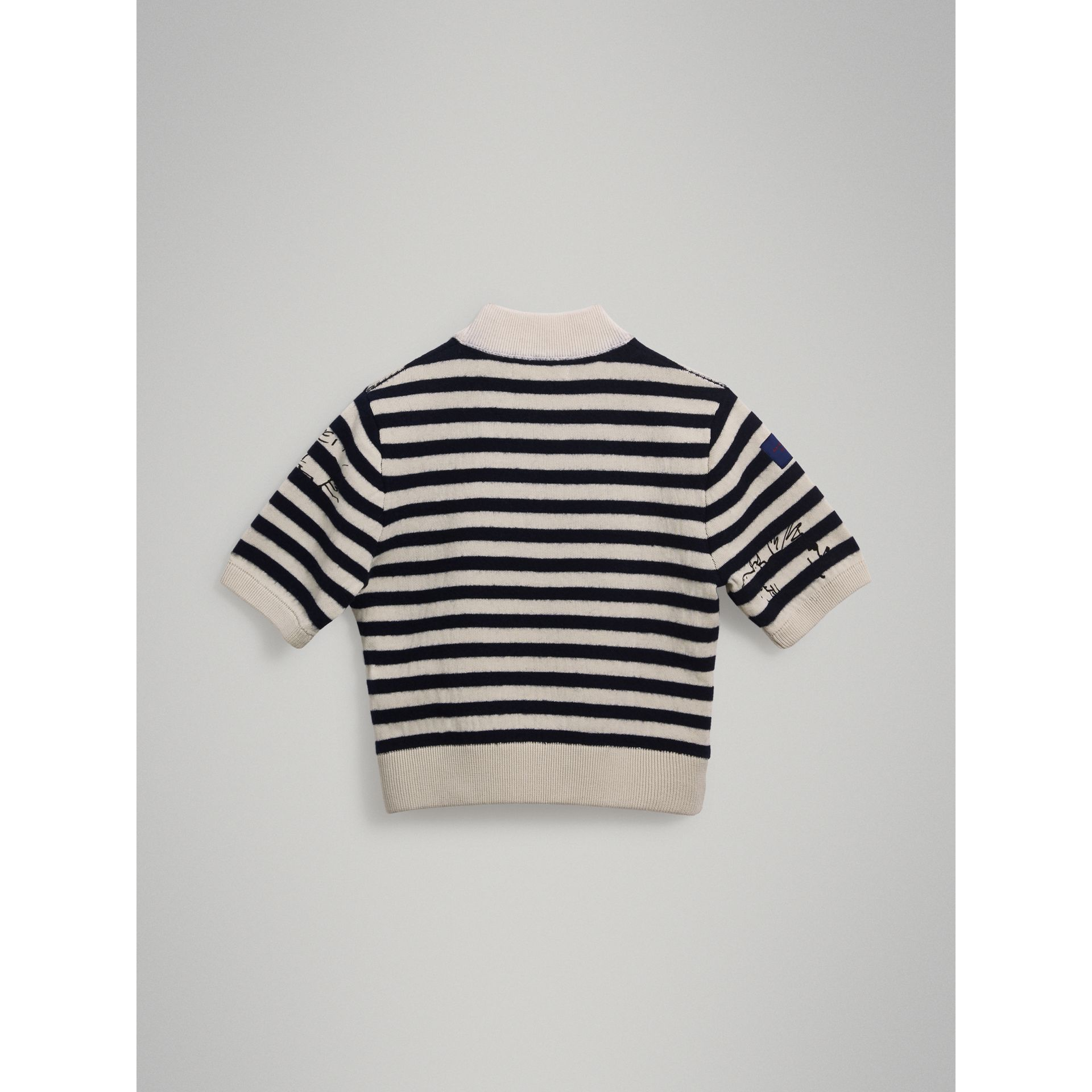 Heart Motif Striped Cotton Wool Sweater in Navy - Girl | Burberry - gallery image 3