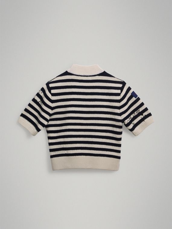 Heart Motif Striped Cotton Wool Sweater in Navy - Girl | Burberry Singapore - cell image 3