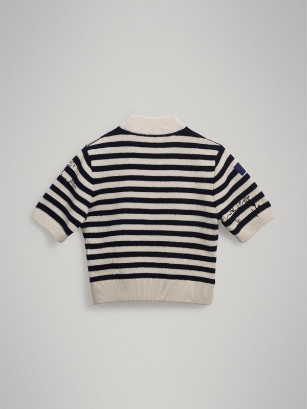 Heart Motif Striped Cotton Wool Sweater in Navy | Burberry United Kingdom - cell image 3