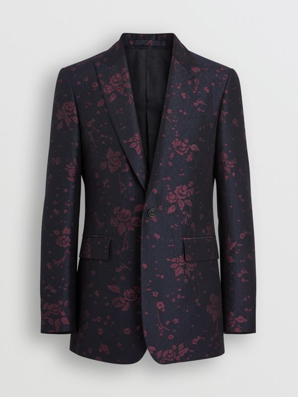 Slim Fit Silk Wool Matelassé Evening Jacket in Midnight Blue - Men | Burberry Australia - cell image 3