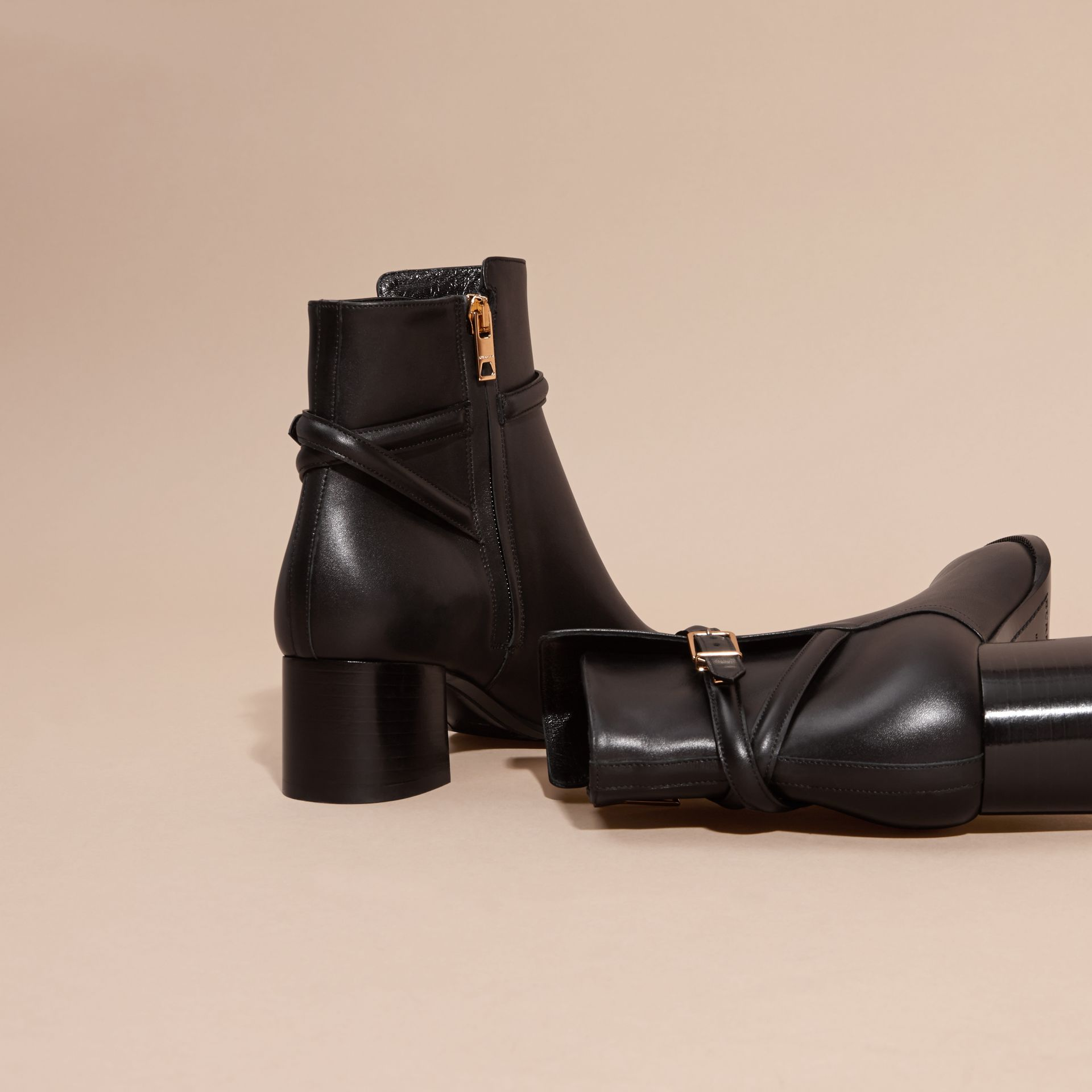 Black Strap Detail Leather Ankle Boots - gallery image 4