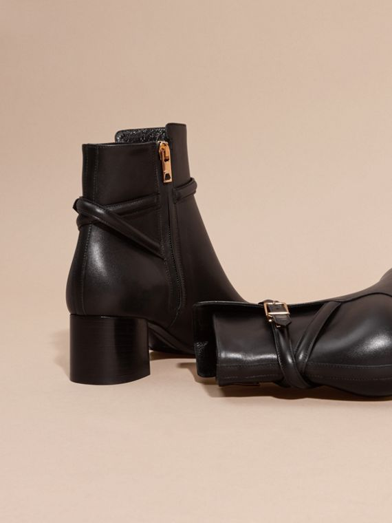 Black Strap Detail Leather Ankle Boots - cell image 3