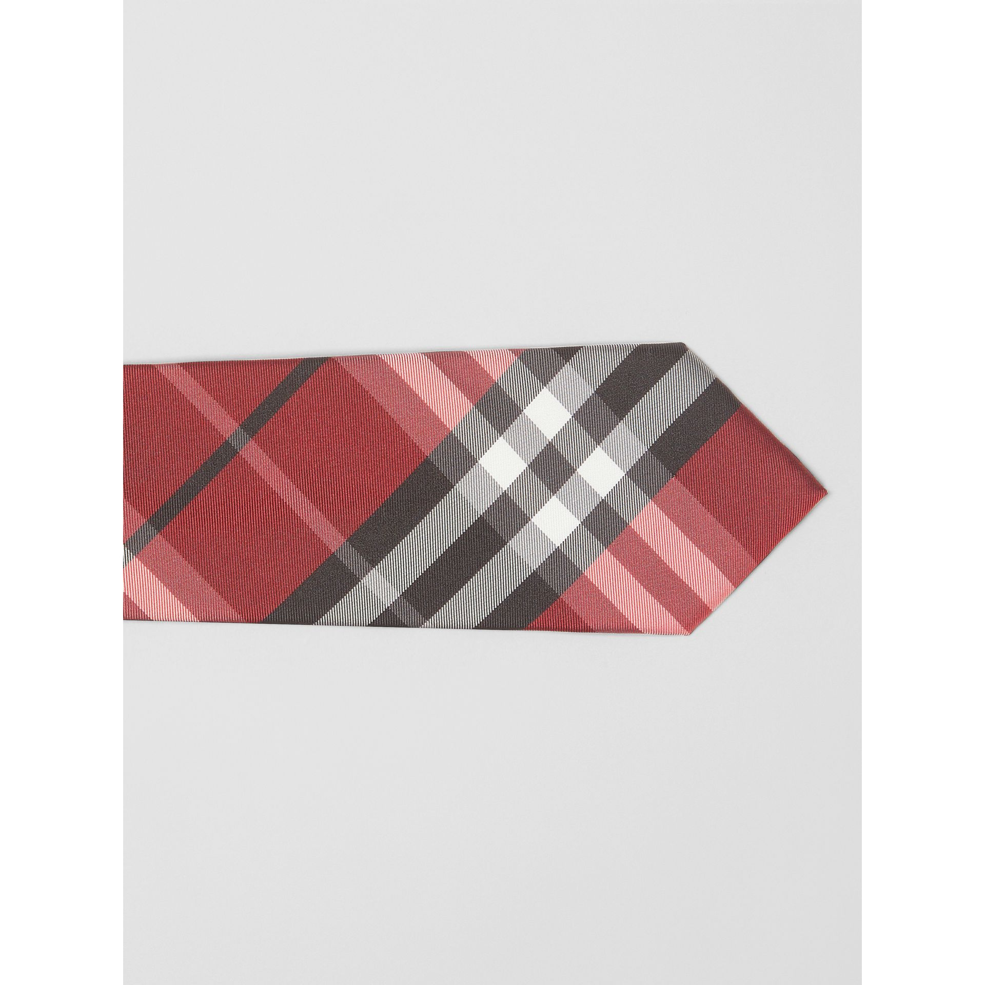 Modern Cut Vintage Check Silk Tie in Bright Red - Men | Burberry - gallery image 1