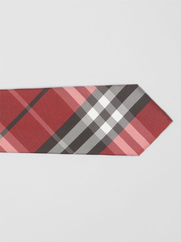 Modern Cut Vintage Check Silk Tie in Bright Red - Men | Burberry - cell image 1