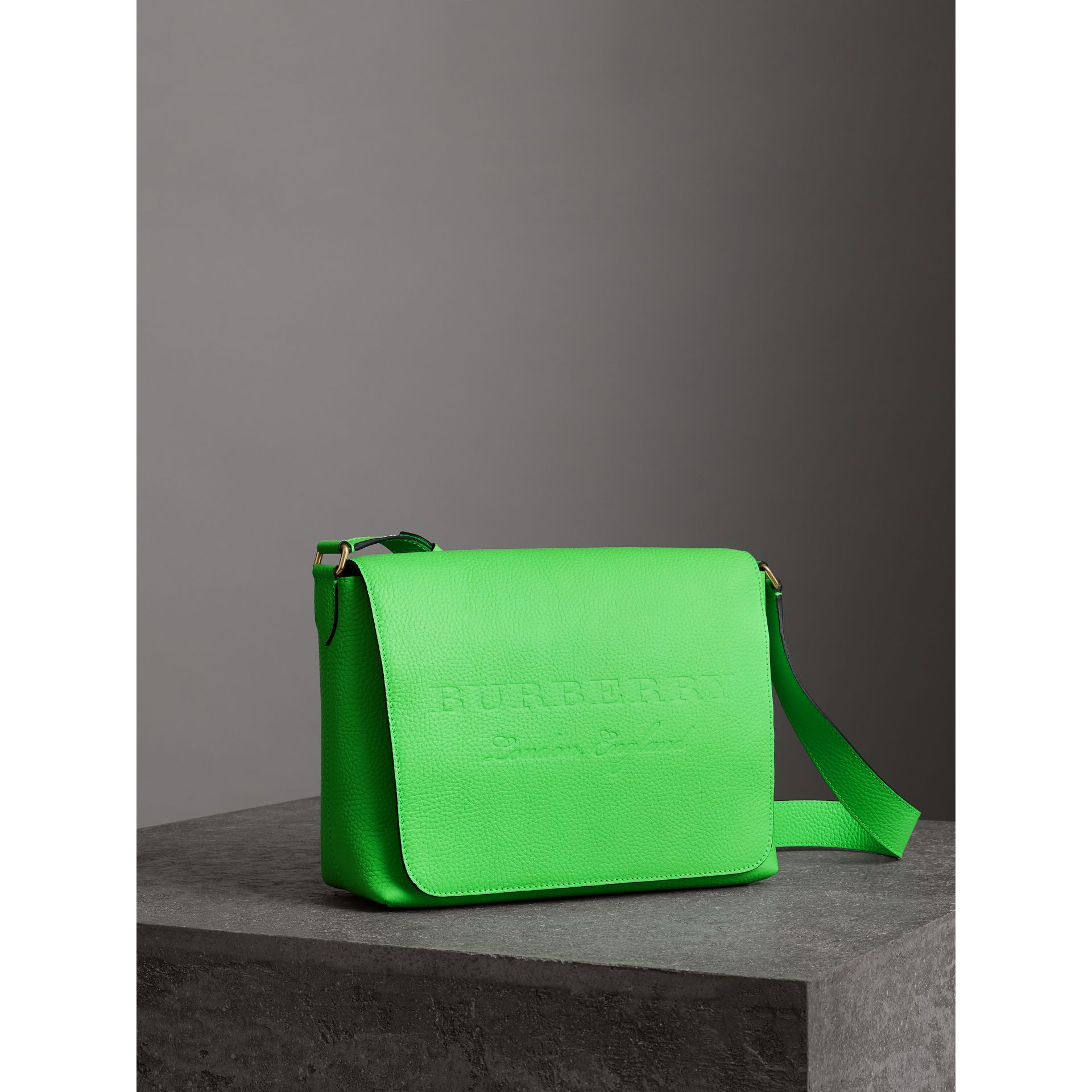 Medium Embossed Leather Messenger Bag in Neon Green | Burberry - gallery image 8