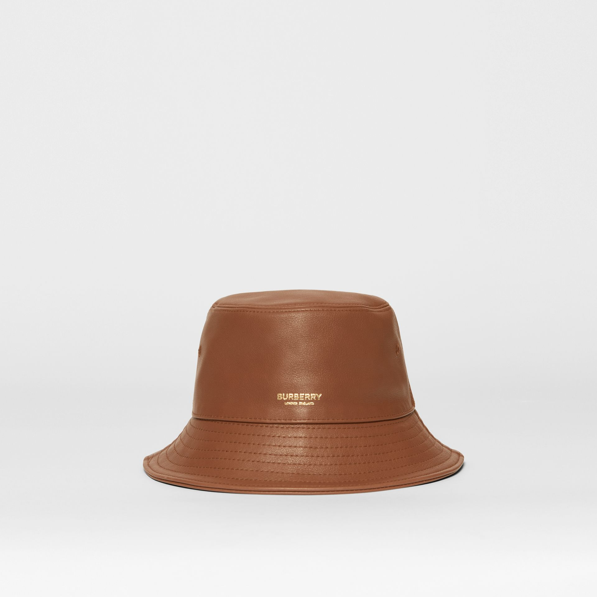 Logo Detail Leather Bucket Hat in Tan | Burberry United States - gallery image 6