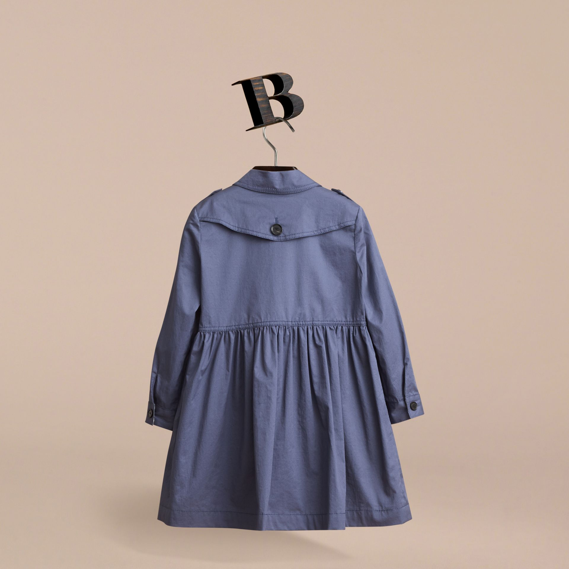 Check Detail Stretch Cotton Trench Dress in Storm Blue - Girl | Burberry - gallery image 4